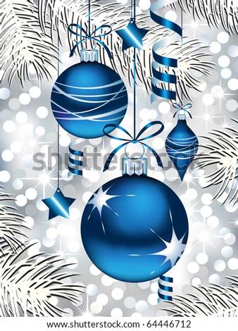 Blue Christmas Ornaments - stock vector