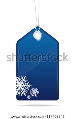 Blue christmas price tag - vector file - stock vector