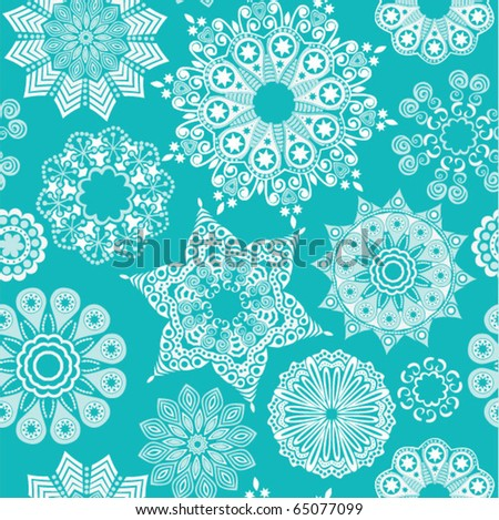 Blue christmas seamless pattern with snowflakes on white - stock vector