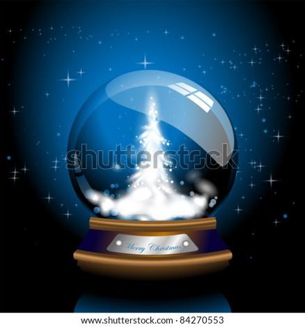 Blue Christmas Snow Glob - stock vector