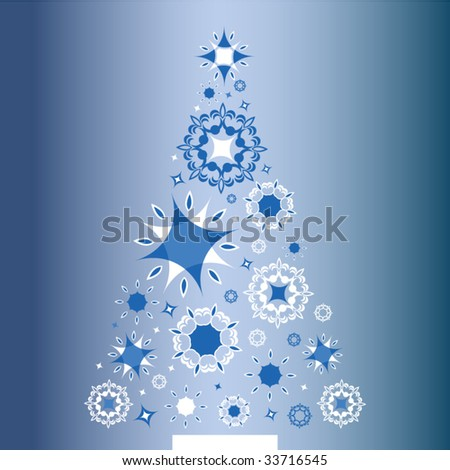 blue christmas tree - stock vector