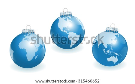 Blue christmas tree balls with three different angles of the world. Three-dimensional isolated vector illustration on white background. - stock vector