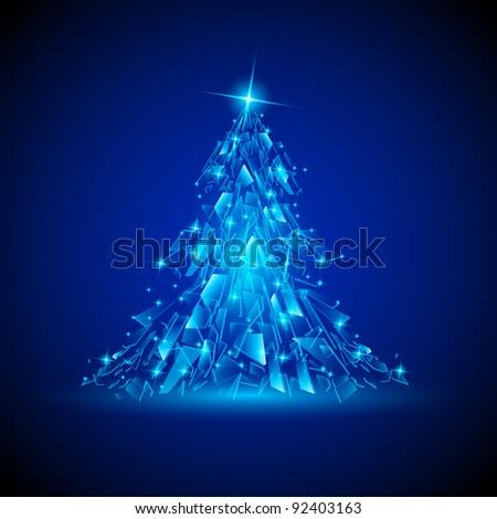 Blue Christmas tree. Broken glass. Illustration for design. - stock vector