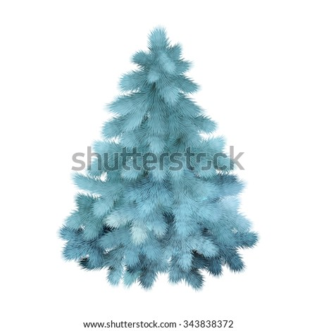 Blue Christmas tree, realistic vector illustration - stock vector