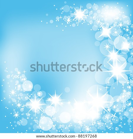 Blue Christmas winter background, sparkling lights and snowflakes - stock vector