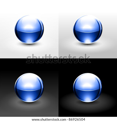 Blue chrome metal ball with drop black shadow and glowing on white, gray and black background - stock vector