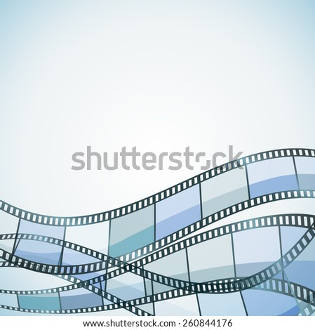 blue cinema background with filmstrip - stock vector