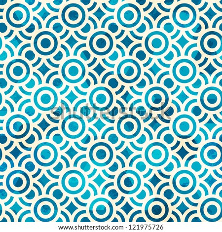 blue circle seamless pattern with grunge effect