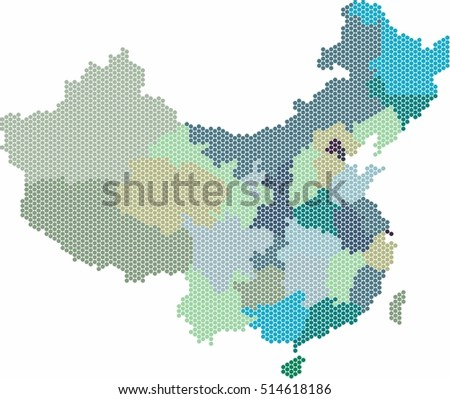 Blue circle shape China and Taiwan map on white background, vector illustration.
