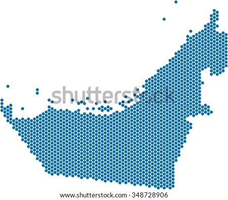 Blue circle shape United Arab Emirate on white background. Vector illustration.