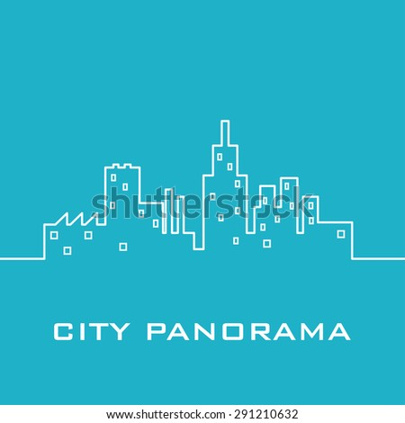 Blue city panorama - stock vector