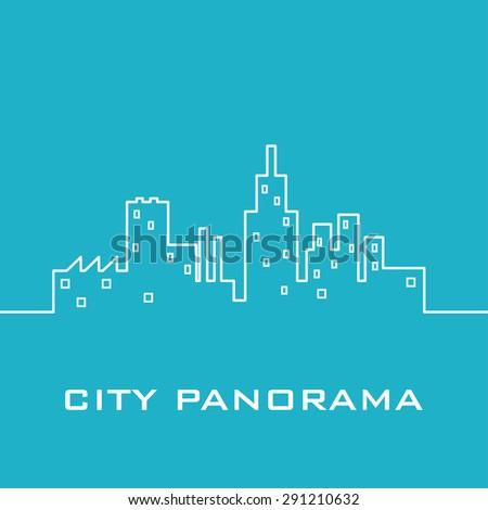 Blue city panorama - stock vector