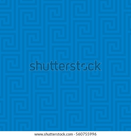 Blue Classic meander seamless pattern. Greek key neutral tileable linear vector background.