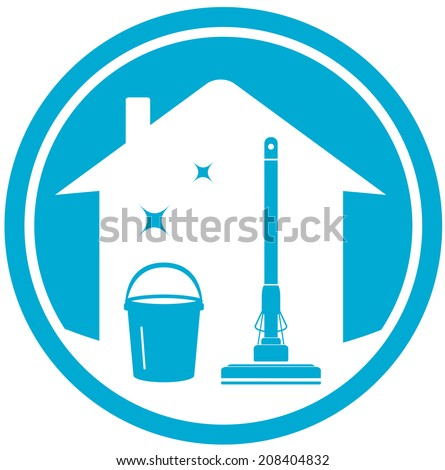 blue cleaning house icon with mop and bucket - stock vector