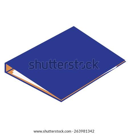 Blue closed cardboard folder vector isolated, file folder, document case, block note - stock vector