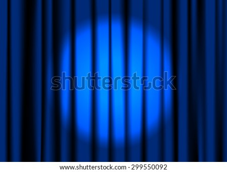 Blue closed stage curtain with spotlight. Vector illustration.