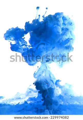 Blue cloud of ink swirling in water. Abstract background - stock vector
