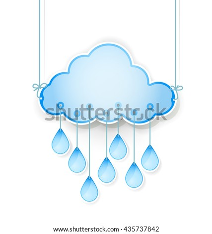 blue cloud with rain drops hanging on white. vector illustration - stock vector