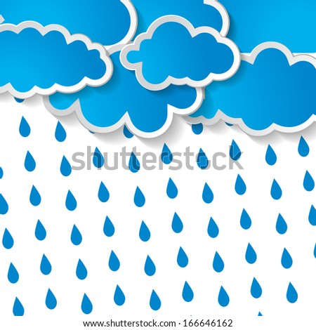 blue clouds with rain drops on a white background  - stock vector