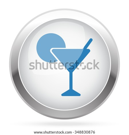 Blue Cocktail icon on white glossy chrome app button