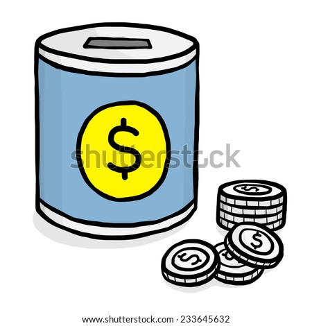 blue coin bank and coins with dollar sign / cartoon vector and illustration, hand drawn style, isolated on white background. - stock vector