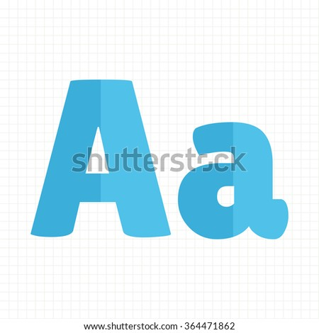 blue color alphabet letters A - stock vector