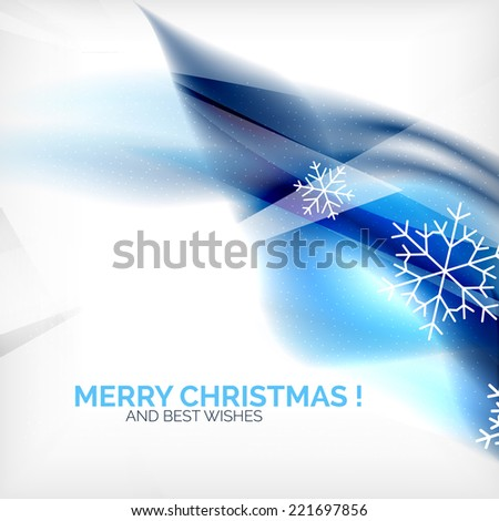 Blue Color Christmas blurred waves and snowflakes abstract background - stock vector