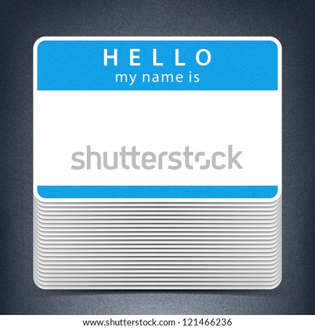 Blue color name tag HELLO my name is. Pile blank stickers with drop gray shadow on gray background. This vector illustration clip-art element for design saved in 10 eps - stock vector