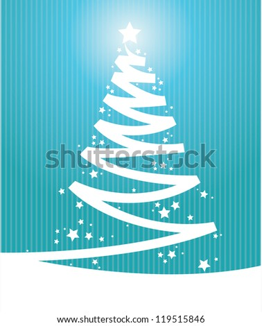 blue color Vintage christmas card - stock vector