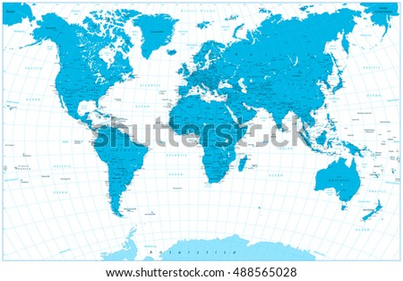 Blue color world map highly detailed vectores en stock 488565028 blue color world map highly detailed illustration countries cities graticule water objects gumiabroncs Gallery