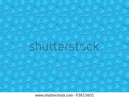 Blue colored drawing of the ocean wave pattern - stock vector