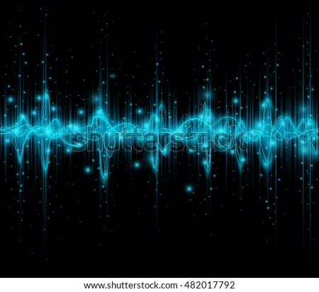 Blue colored equalizer or waveform design, vector illustration of musical pulse
