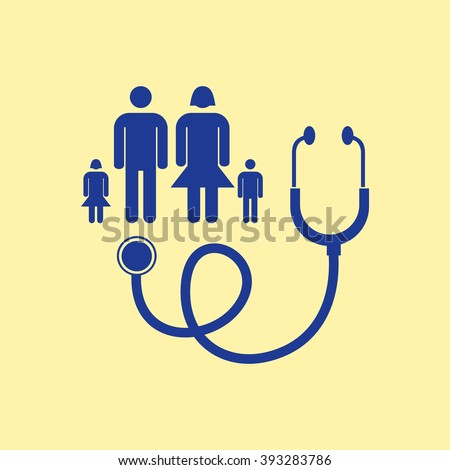 Blue Colored Family Doctor Icon on Light Orange Background. Eps-10.
