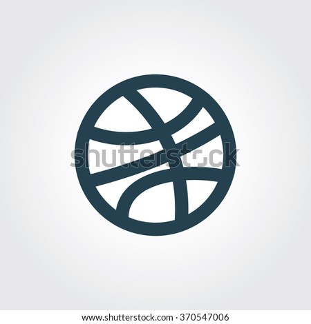 Blue Colored Icon of Basketball On Gray Color Background. Eps-10. - stock vector