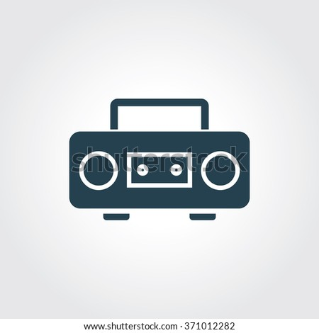 Blue Colored Icon of Cassette Player On Gray Color Background. Eps-10. - stock vector