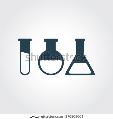 Blue Colored Icon of Laboratory Glass On Gray Color Background. Eps-10.