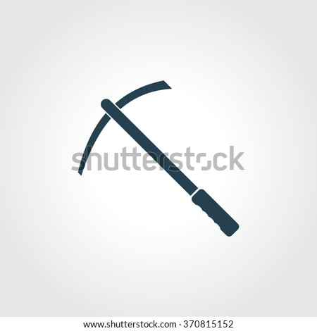 Blue Colored Icon of Pick or Pickax On Gray Color Background. Eps-10. - stock vector