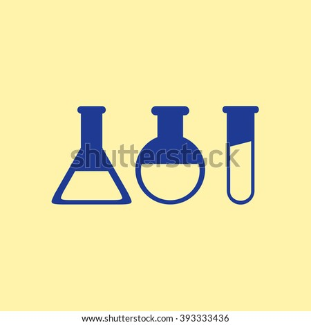 Blue Colored Laboratory Glass Icon on Light Orange Background. Eps-10.