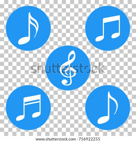 blue colored music notes symbols icons stock vector 756922255