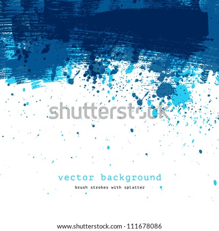 Blue colorful vector abstract brush stroke and splatter background - stock vector