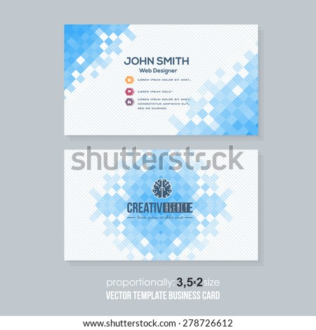 Blue Colors Abstract Squares Elements Low Poly Style Business Card Design - stock vector