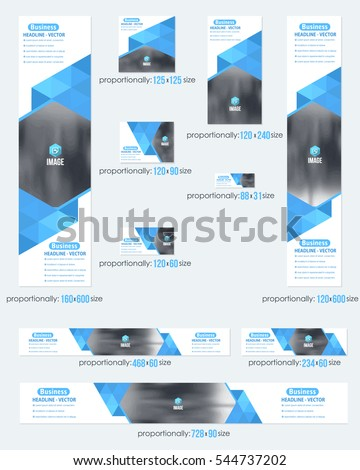 Blue Colors Flat Style Website Banner, Different Frames Background and Web Layout Ad Vector Cover Illustration. Image Add Business Advertisement Design Collection with Geometric Elements Banners Set