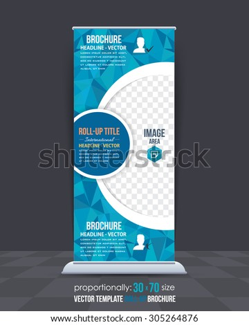 Blue Colors Low Poly Style Shine Roll-Up Banner, Advertising Vector Background Design - stock vector