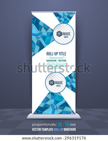 Blue Colors Low Poly Style Shine Roll-Up Banner, Advertising Vector Template - stock vector