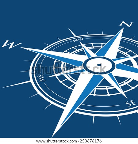 blue compass background - stock vector