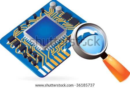 Blue computer chip set under magnifying glass. Vector illustration. - stock vector