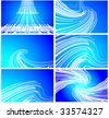 blue concept linear techno design set - stock vector
