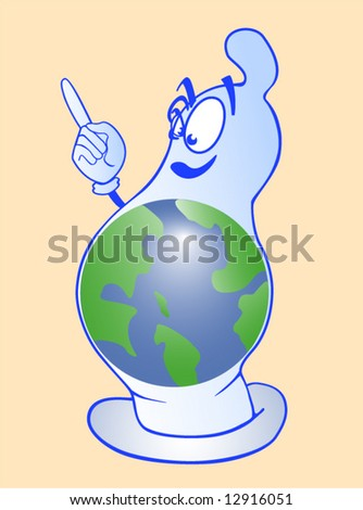 Blue condom with the globe on a yellow background