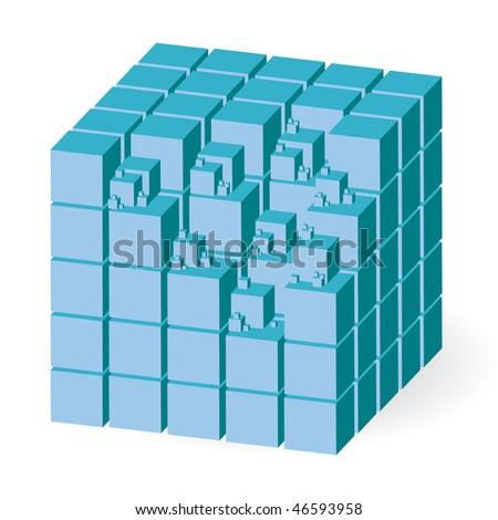 Blue construction set of cubes, vector illustration - stock vector