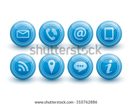 Blue Contact glossy icons